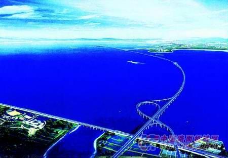 青岛海湾大桥全景效果图